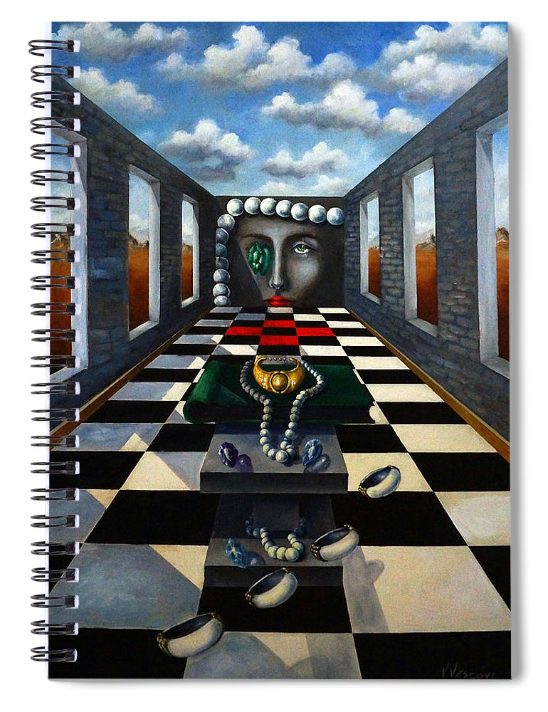Surreal Landscape Spiral Notebook featuring the painting Family Jewels by Valerie Vescovi