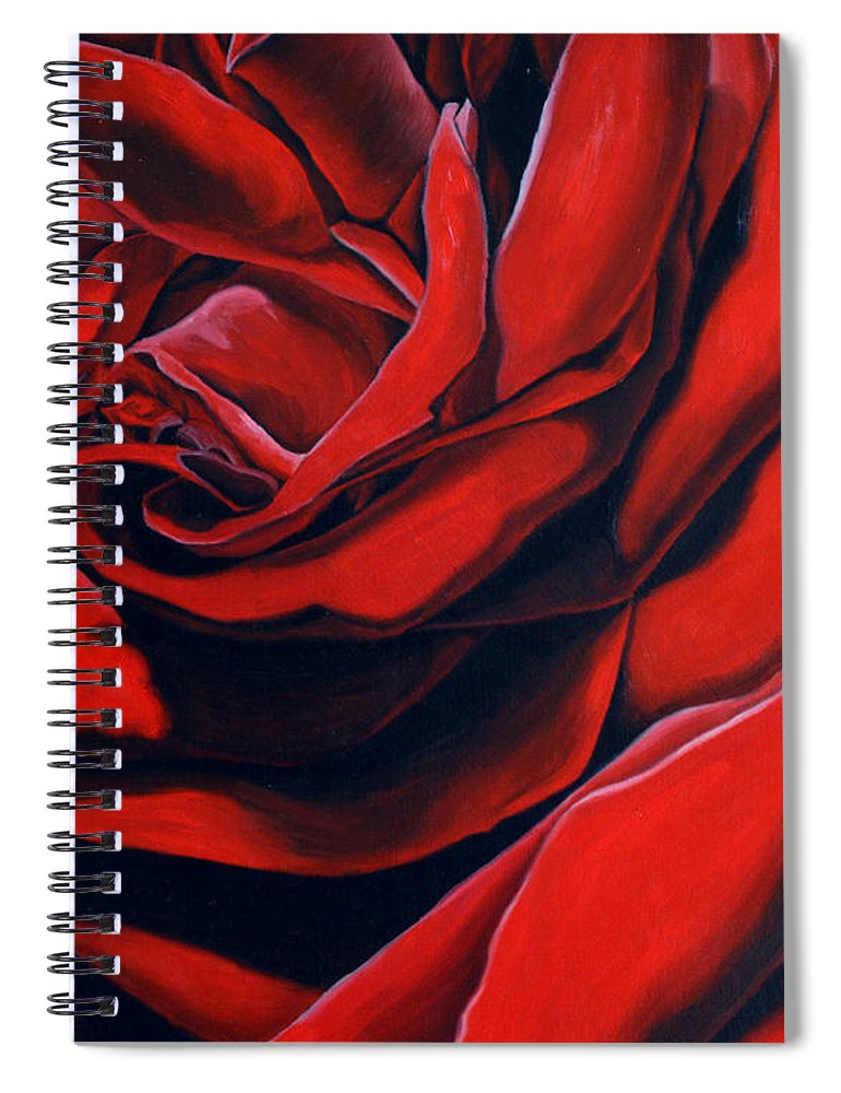 Rose Spiral Notebook featuring the painting February Rose by Thu Nguyen