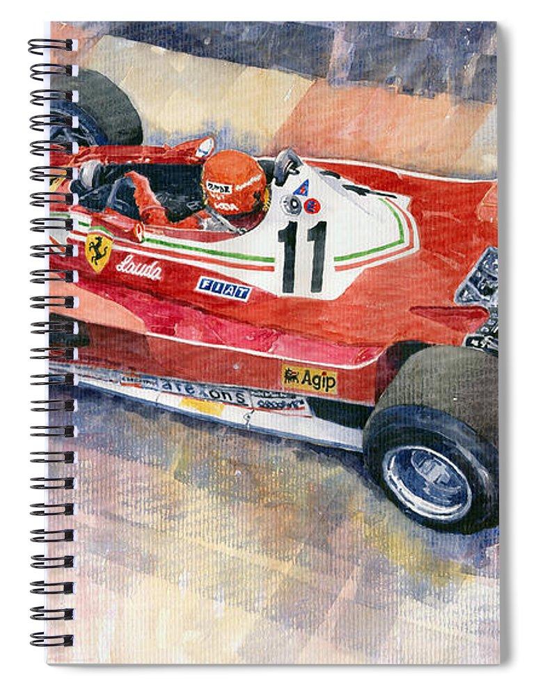 Watercolor Spiral Notebook featuring the painting Ferrari 312 T2 Niki Lauda 1977 Monaco Gp by Yuriy Shevchuk