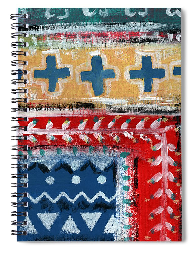 Fiesta Spiral Notebook featuring the mixed media Fiesta 3- Colorful Pattern Painting by Linda Woods