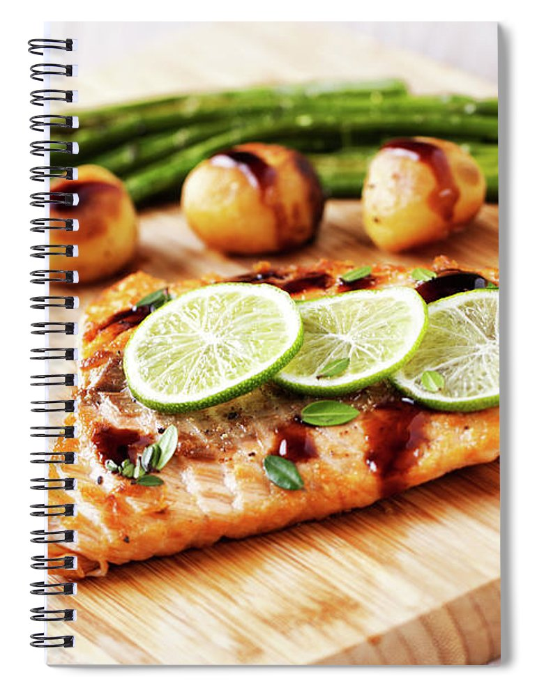 Grilled Salmon Spiral Notebook featuring the photograph Fillet Of Salmon With Vegetables by Svariophoto