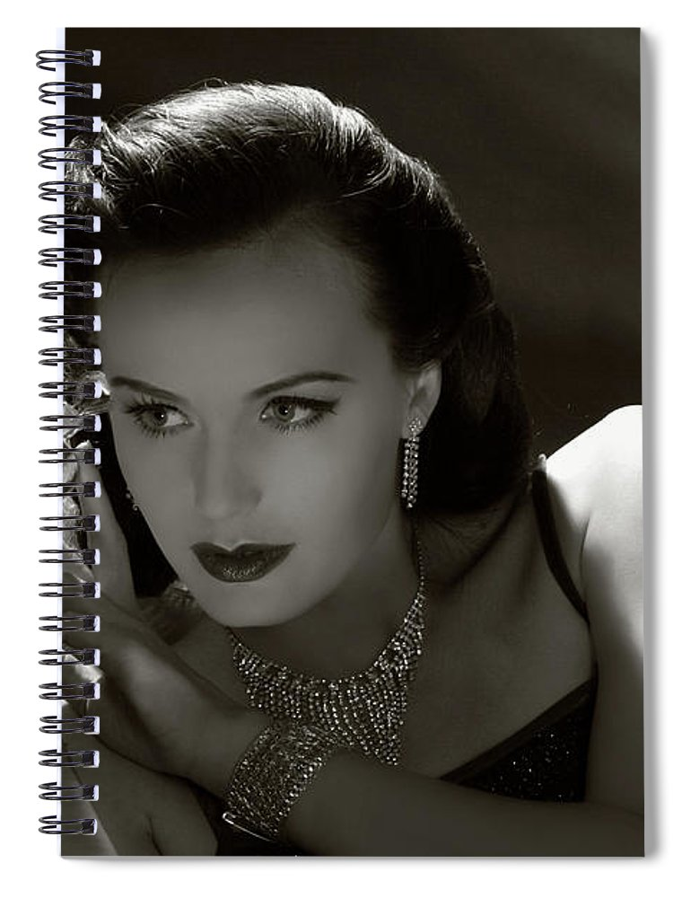 People Spiral Notebook featuring the photograph Film Noir Style.forbidden Fruit by Retroatelier