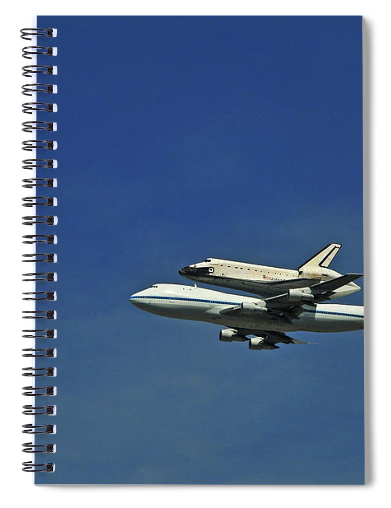 Teamwork Spiral Notebook featuring the photograph Final Flight Of The Space Shuttle by Mitch Diamond