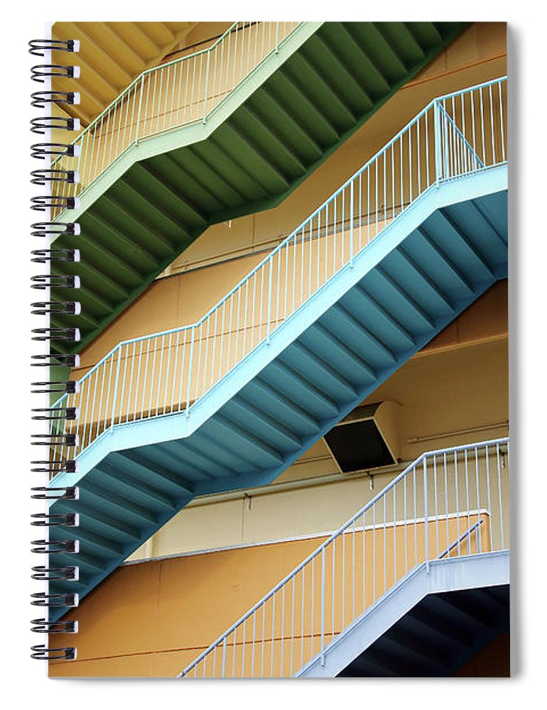 Steps Spiral Notebook featuring the photograph Fire Escape Stairs by Akiyoko