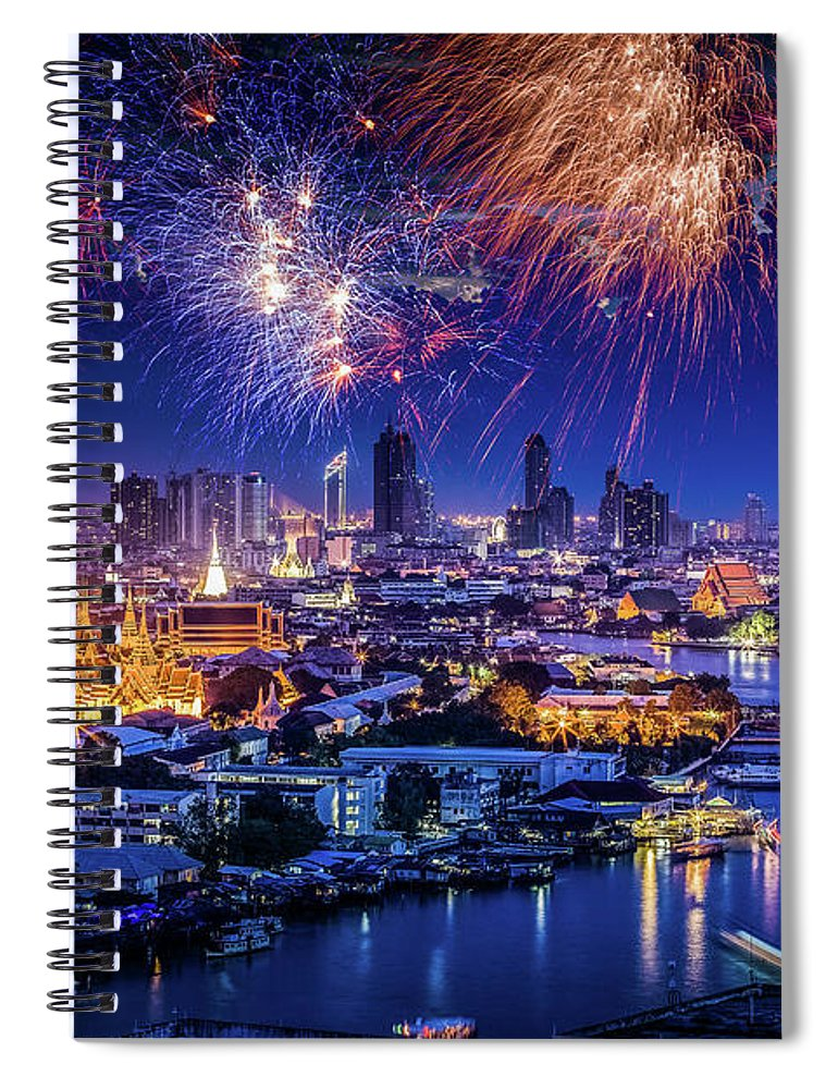 Mother's Day Spiral Notebook featuring the photograph Fireworks Above Bangkok City by Natapong Supalertsophon
