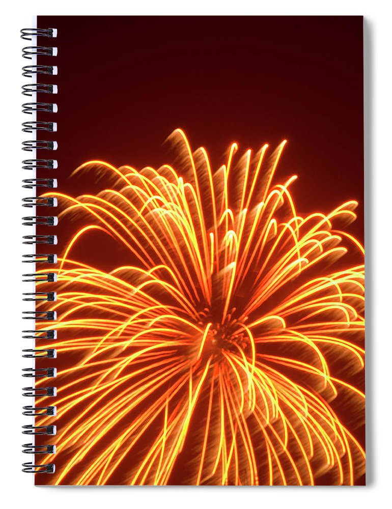 Orange Color Spiral Notebook featuring the photograph Fireworks by Dennis Mccoleman