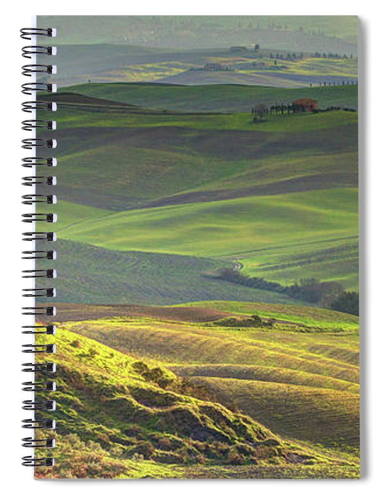 Scenics Spiral Notebook featuring the photograph First Light In Tuscany by Maurice Ford