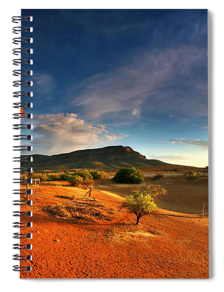 First Light Early Morning Windmill Dam Rawnsley Bluff Wilpena Pound Flinders Ranges South Australia Australian Landscape Landscapes Outback Red Earth Blue Sky Dry Arid Harsh Spiral Notebook featuring the photograph First Light on Wilpena Pound by Bill Robinson