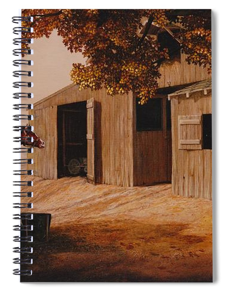 Farm Spiral Notebook featuring the painting First Meeting by Duane R Probus