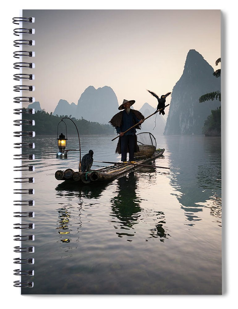 Chinese Culture Spiral Notebook featuring the photograph Fisherman With Cormorants On Li River by Matteo Colombo