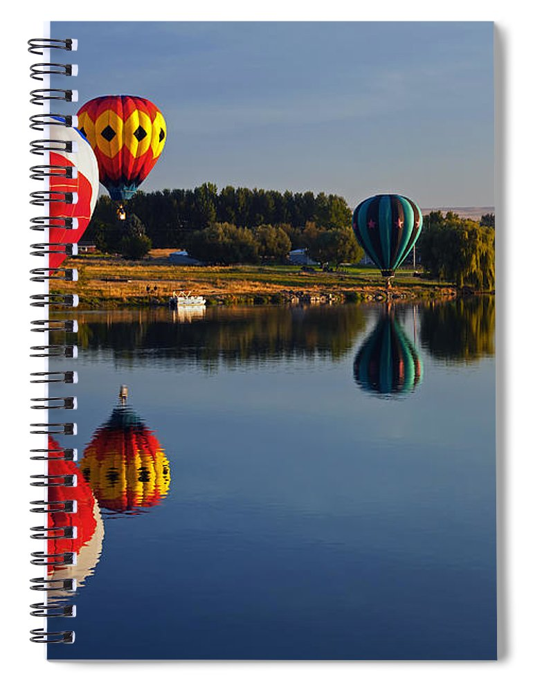 Balloons Spiral Notebook featuring the photograph Five Aloft by Mike Dawson