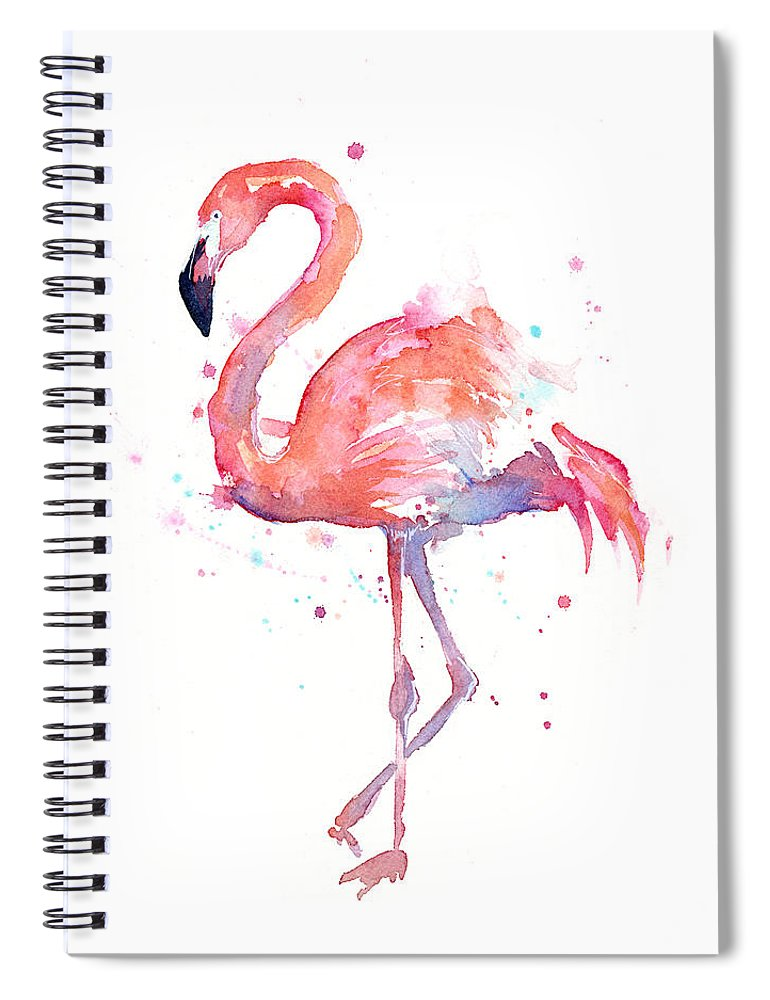 Bird Spiral Notebook featuring the painting Flamingo Watercolor by Olga Shvartsur