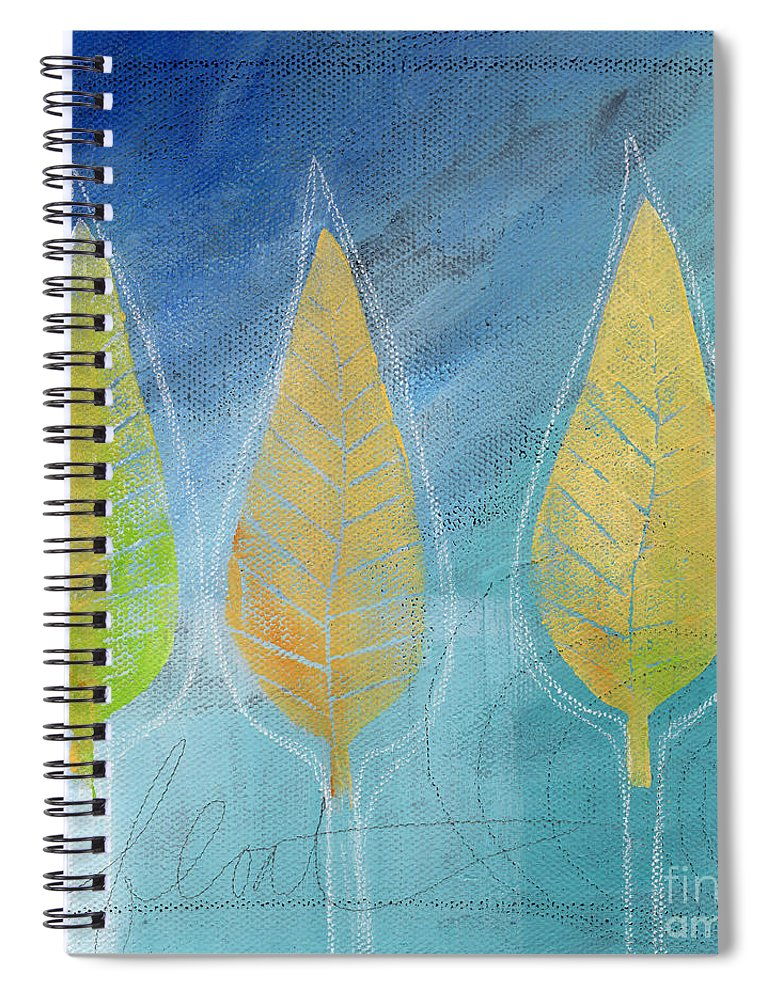 Abstract Spiral Notebook featuring the painting Floating by Linda Woods