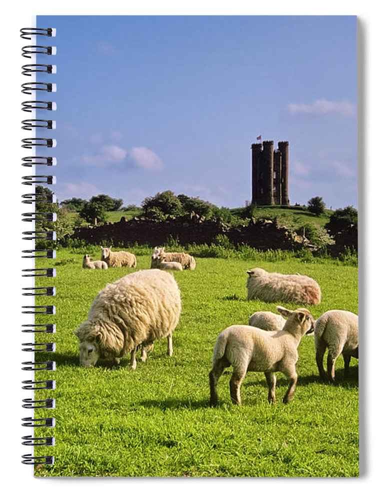 Scenics Spiral Notebook featuring the photograph Flock Of Sheep Eating Grass With Castle by Kodachrome25