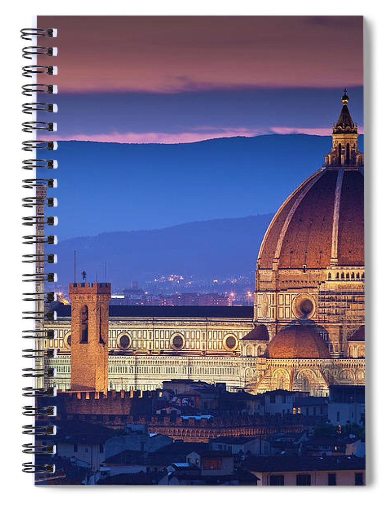 Built Structure Spiral Notebook featuring the photograph Florence Catherdral Duomo And City From by Richard I'anson