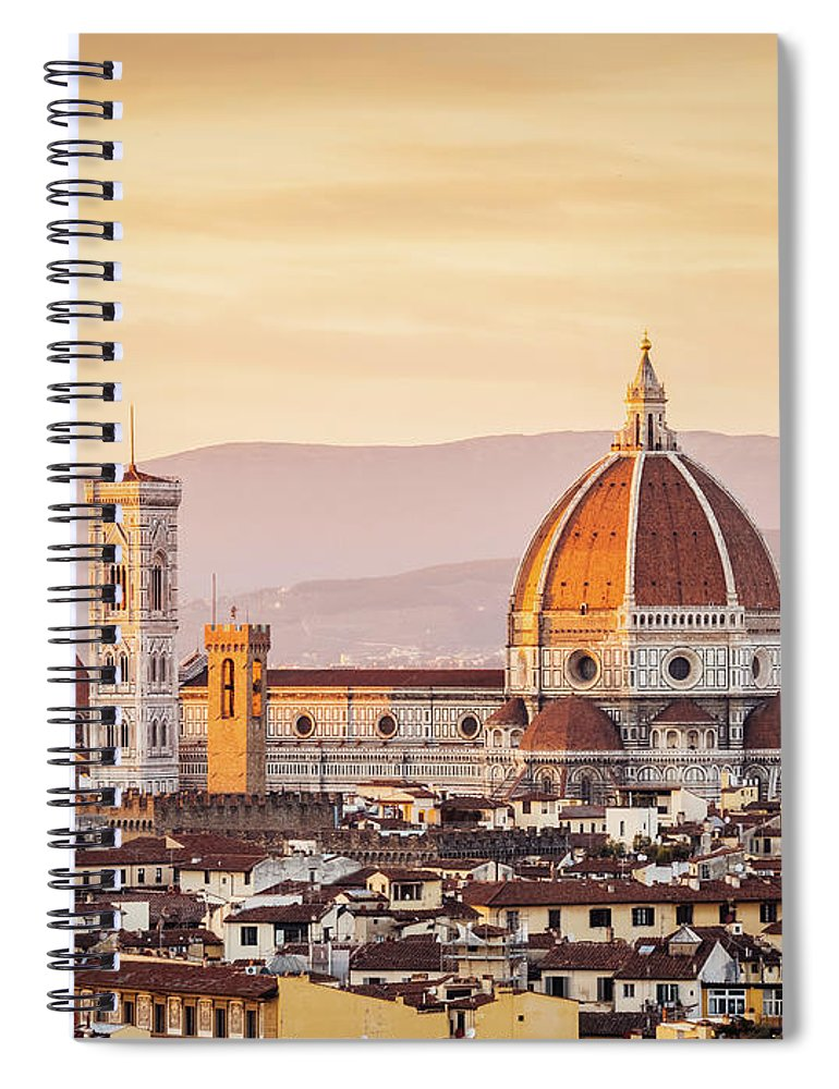 Campanile Spiral Notebook featuring the photograph Florences Cathedral And Skyline At by Filippobacci