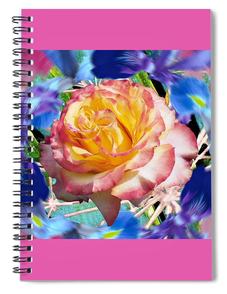 Flowers Spiral Notebook featuring the digital art Flower Dance 2 by Lisa Yount