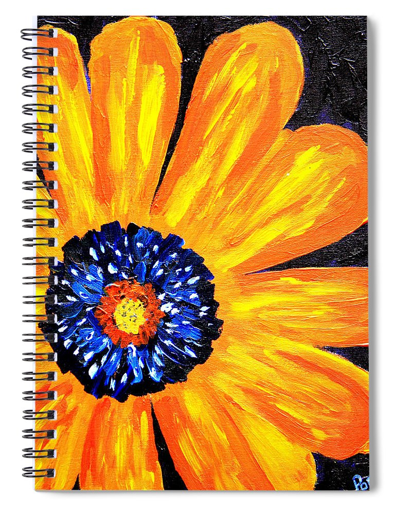 Yellow Spiral Notebook featuring the painting Flower Power 2 by Paul Anderson