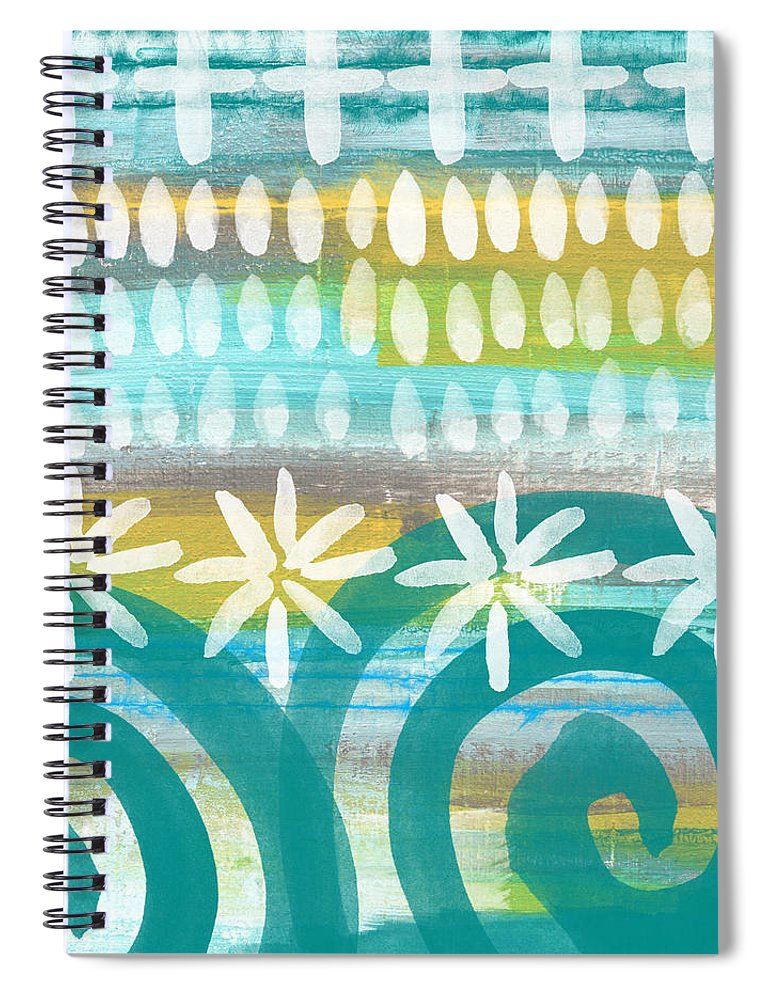 Blue And Yellow Painting Spiral Notebook featuring the painting Flowers and Waves- abstract pattern painting by Linda Woods