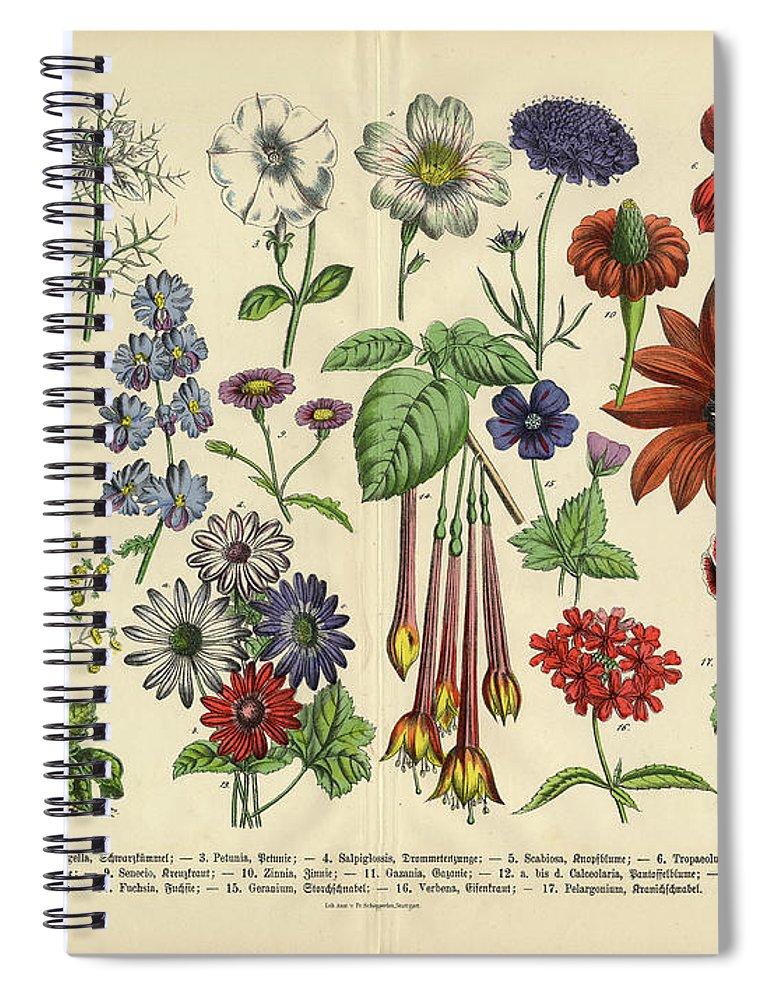 Lantana Spiral Notebook featuring the digital art Flowers Of The Garden, Victorian by Bauhaus1000