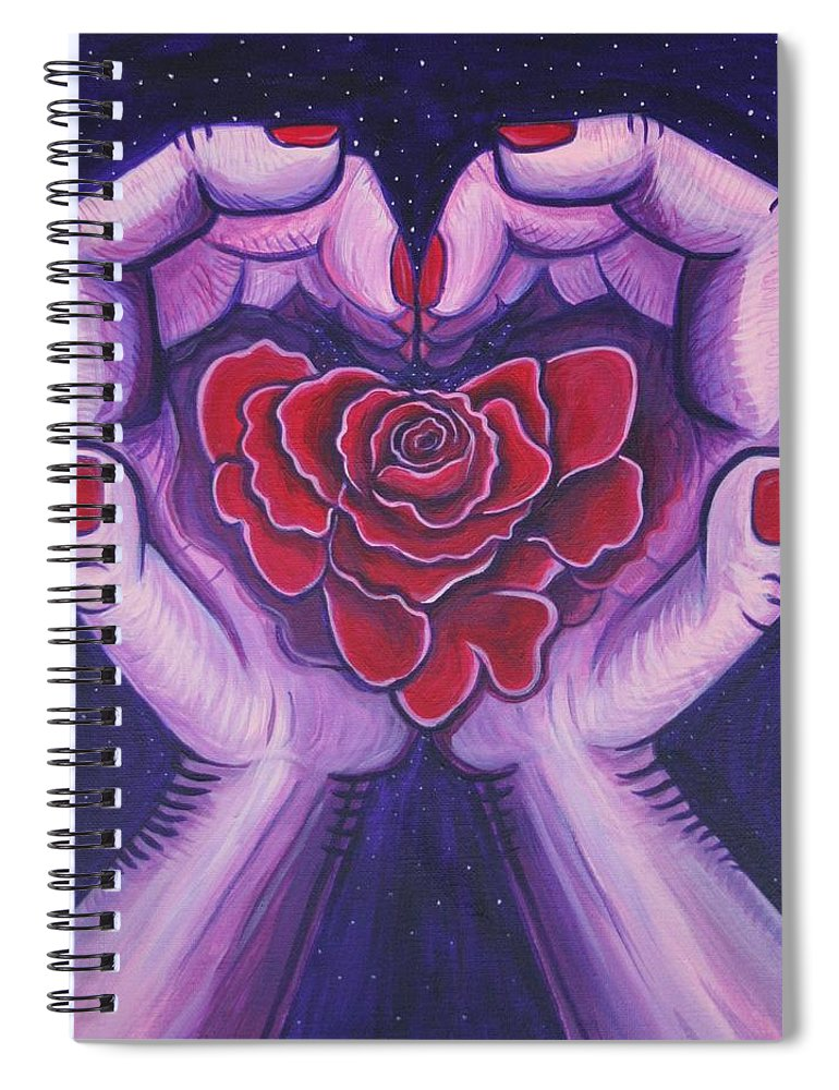 Hands Spiral Notebook featuring the painting For You My Valentine.  by Kate Fortin