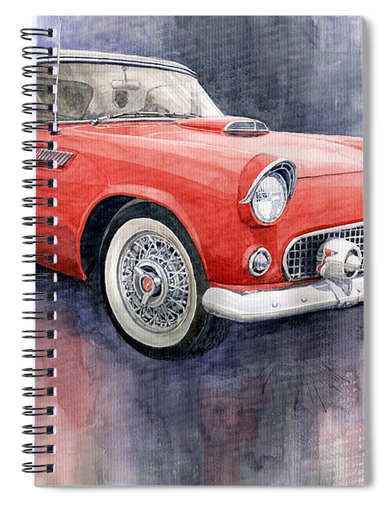 Watercolor Spiral Notebook featuring the painting Ford Thunderbird 1955 Red by Yuriy Shevchuk