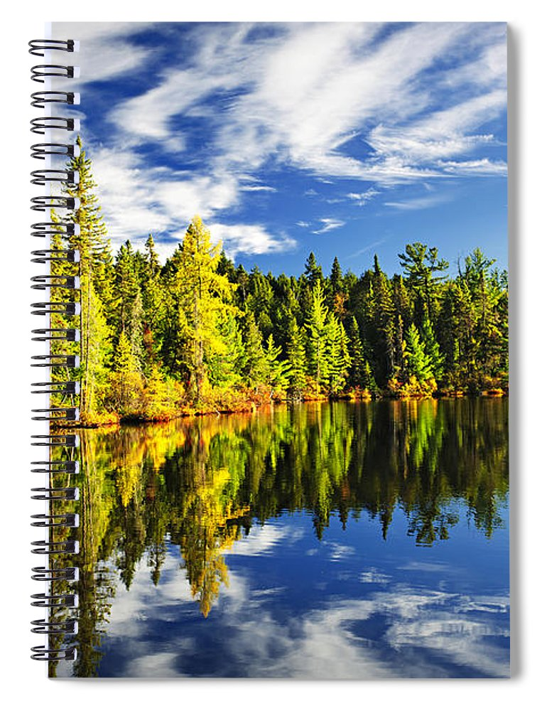Lake Spiral Notebook featuring the photograph Forest reflecting in lake by Elena Elisseeva