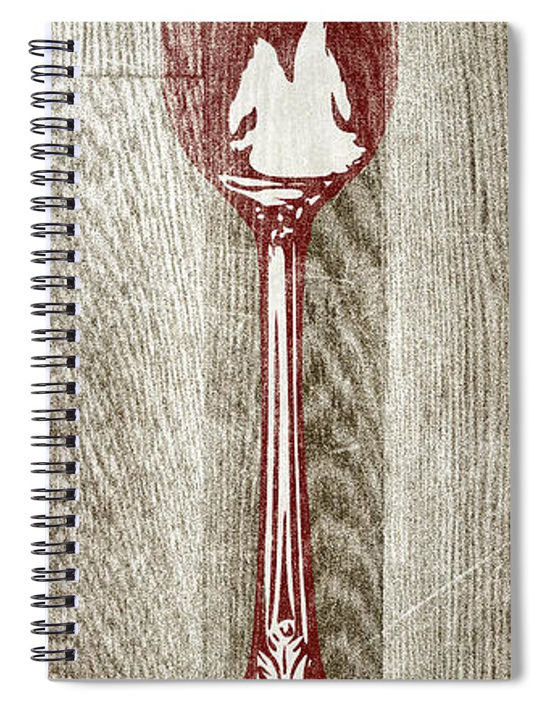 Fork Spiral Notebook featuring the digital art Fork And Spoon On Wood II by Sd Graphics Studio