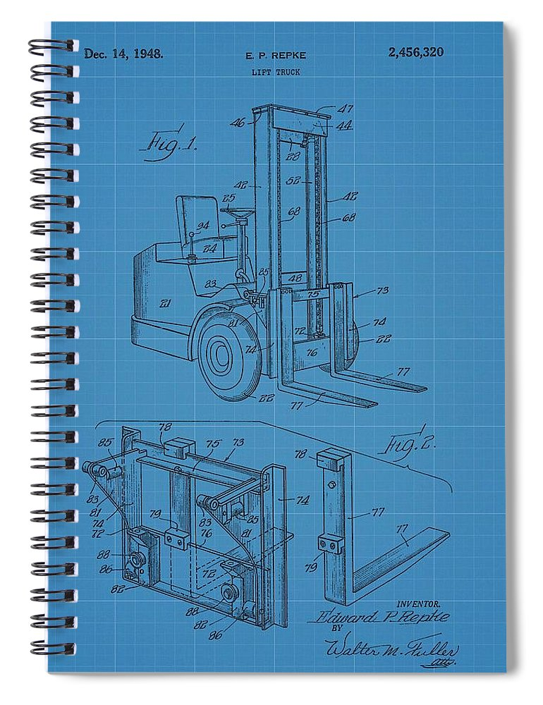 Forklift blueprint patent spiral notebook for sale by dan sproul forklift patent drawing spiral notebook featuring the mixed media forklift blueprint patent by dan sproul malvernweather Choice Image