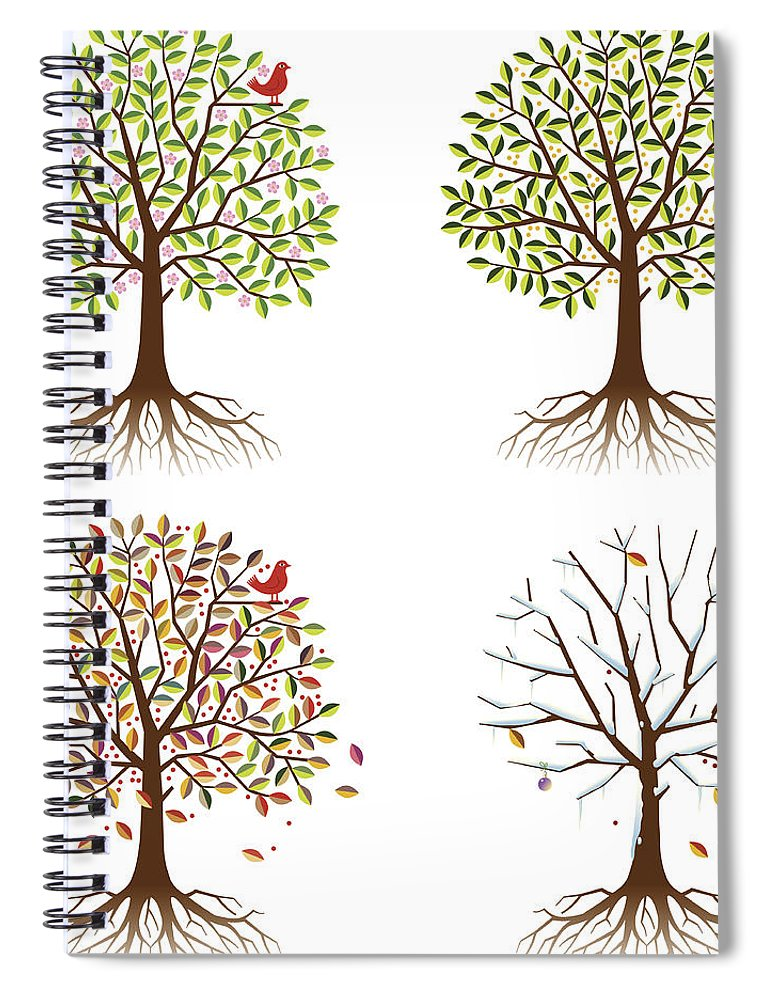 Environmental Conservation Spiral Notebook featuring the digital art Four Seasons In One Tree by Johnwoodcock