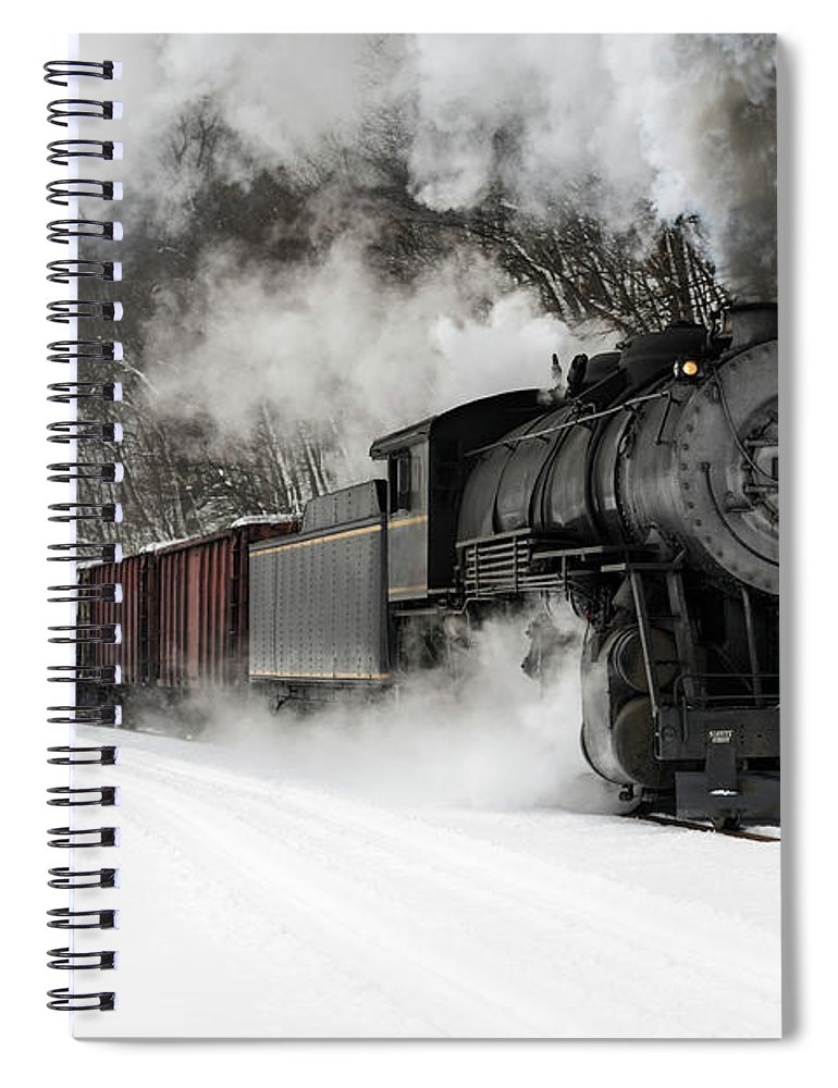 Scenics Spiral Notebook featuring the photograph Freight Train With Steam Locomotive by Catnap72