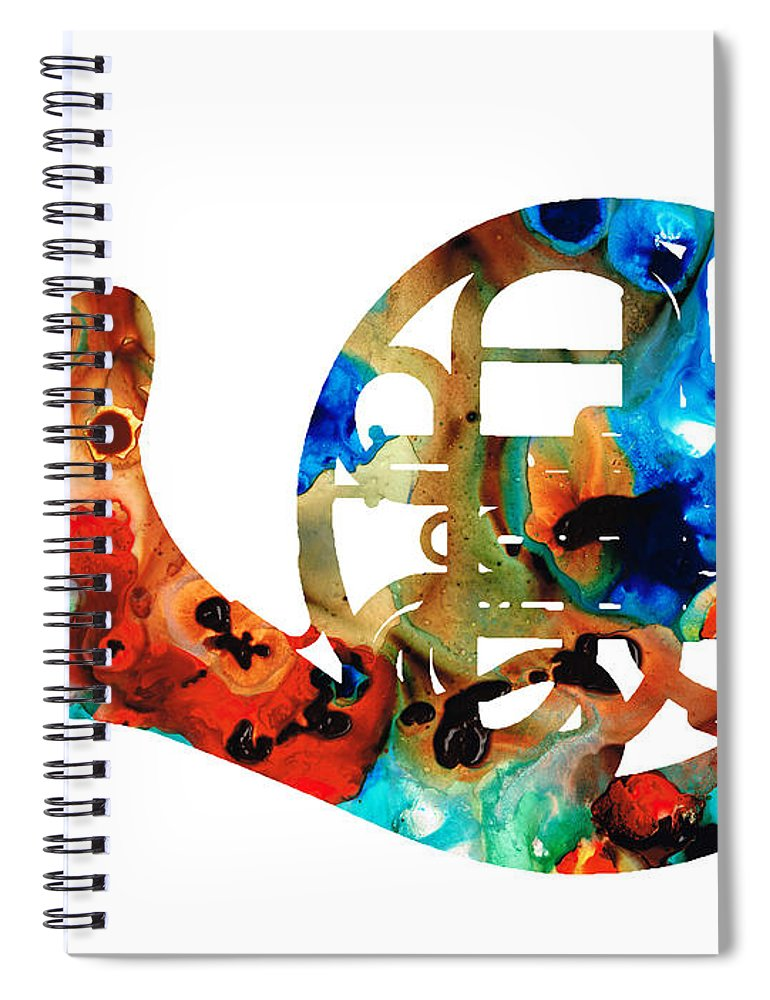 French Horn Spiral Notebook featuring the painting French Horn - Colorful Music By Sharon Cummings by Sharon Cummings