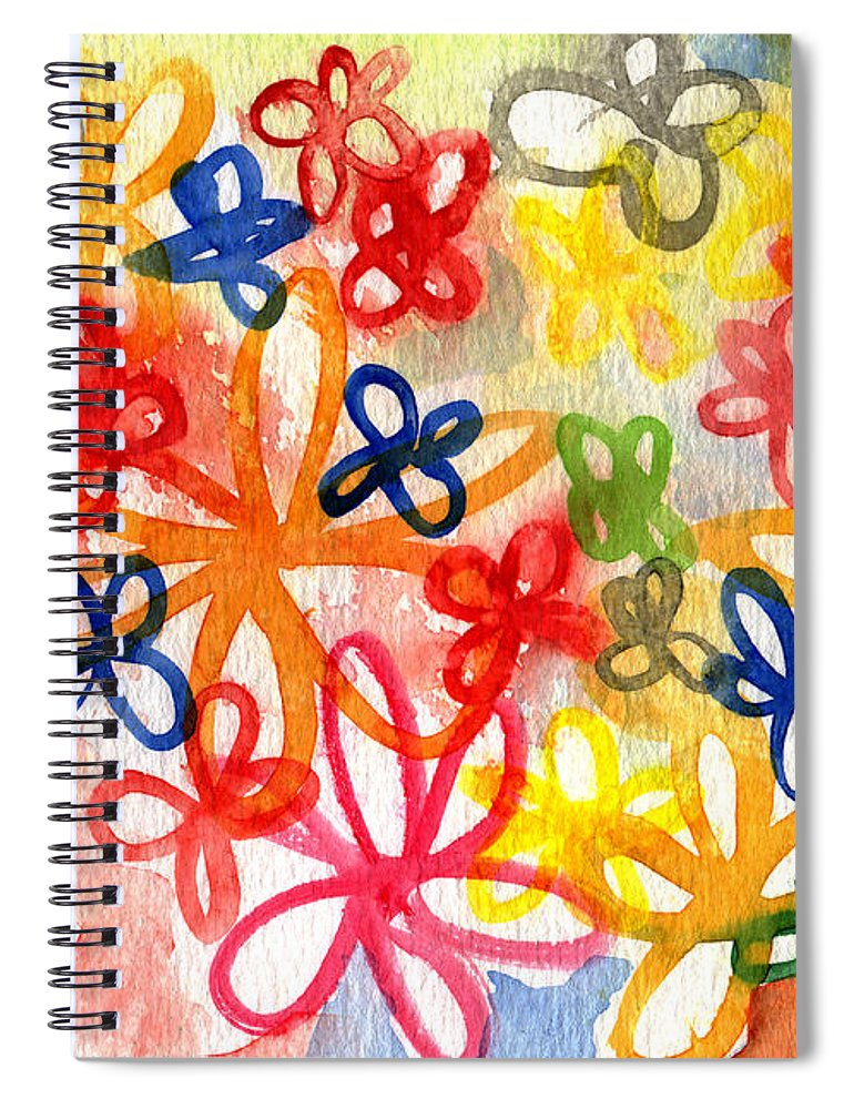 Flowers Spiral Notebook featuring the painting Fresh Flowers by Linda Woods