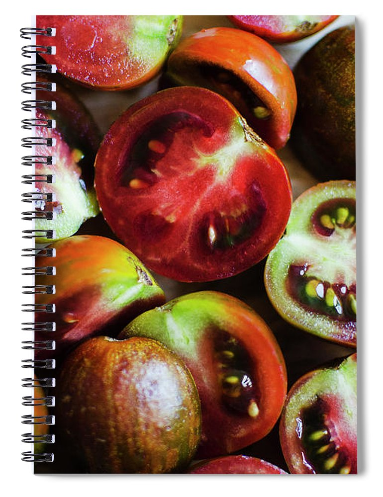 Tranquility Spiral Notebook featuring the photograph Freshly Cut Tomatoes by Jamie Grill