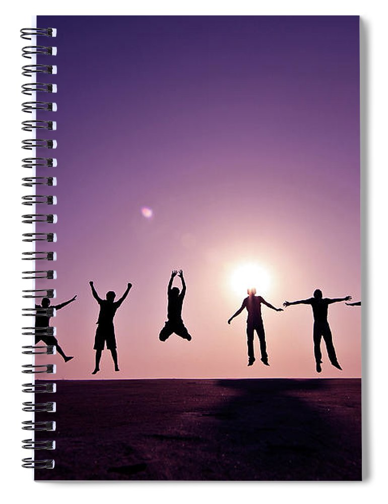 Human Arm Spiral Notebook featuring the photograph Friends Jumping Against Sunset by Kazi Sudipto Photography