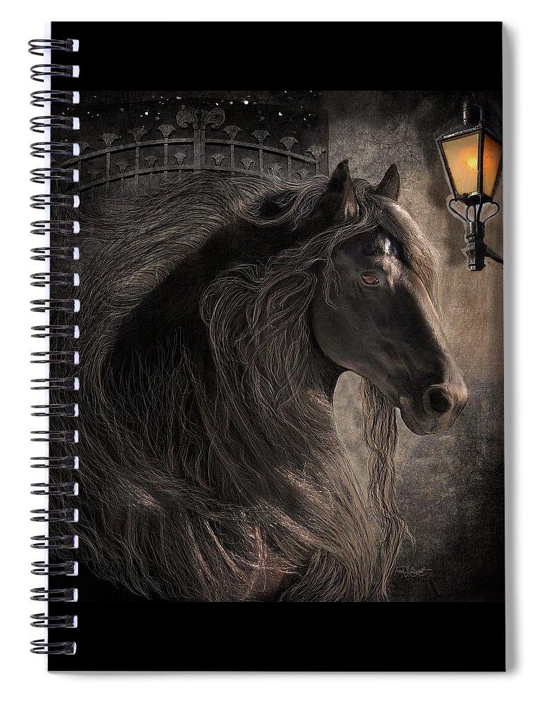 Friesian Horses Spiral Notebook featuring the digital art Friesian Glow by Fran J Scott