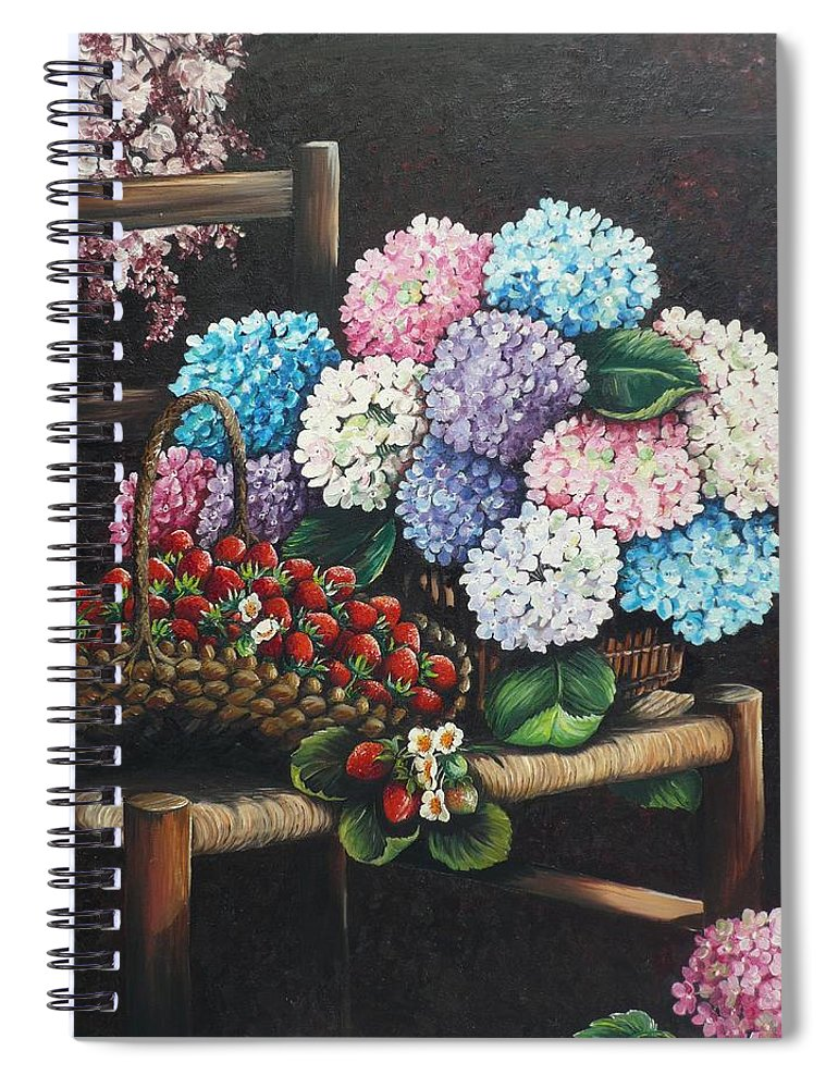 Hydrangea Paintings Floral Paintings Botanical Paintings Flower Paintings Blooms Hydrangeas Strawberries Paintings Red Paintings Basket Paintings Pink Paintings Garden Paintings  Blue Paintings  Greeting Card Paintings Canvas Paintings Poster Print Paintings  Spiral Notebook featuring the painting From My Garden by Karin Dawn Kelshall- Best