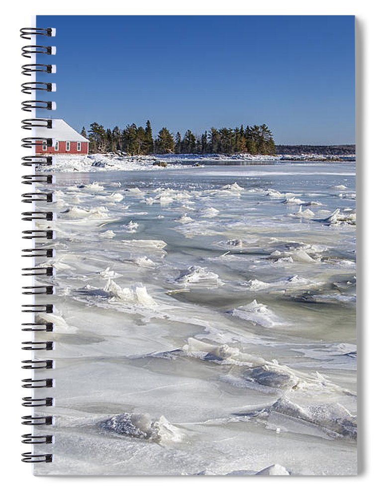 Maine Spiral Notebook featuring the photograph Frozen by Evelina Kremsdorf