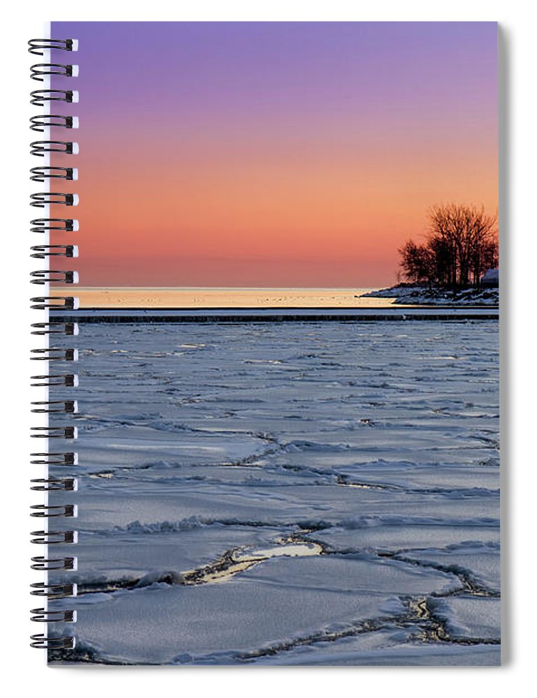 Scenics Spiral Notebook featuring the photograph Frozen Lake Ontario Sunset by Frank Lee