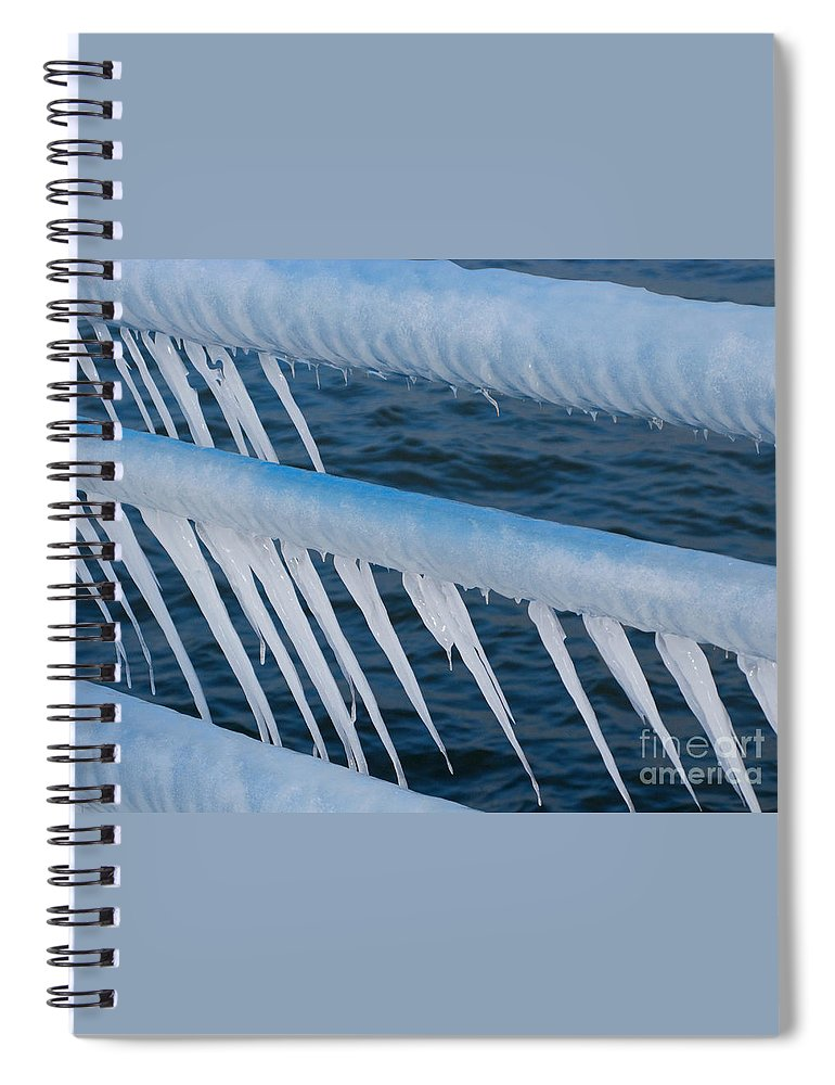 Icicles Spiral Notebook featuring the photograph Frozen Stiff by Ann Horn