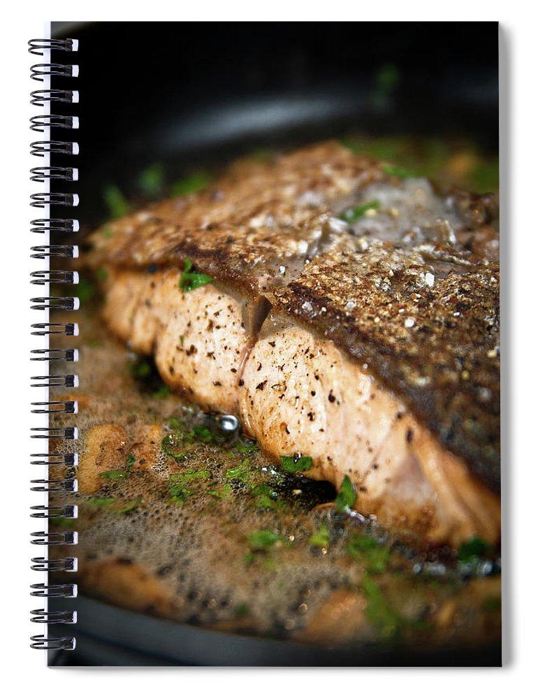 Garlic Spiral Notebook featuring the photograph Frying Salmon On Pan by Wojciech Wisniewski
