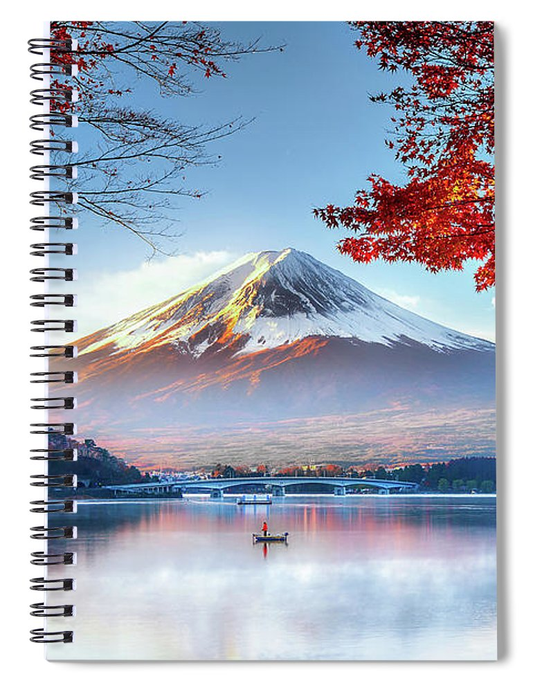 Snow Spiral Notebook featuring the photograph Fuji Mountain In Autumn by Doctoregg