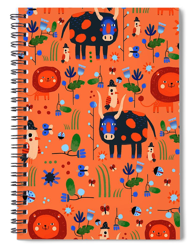 Gouache Spiral Notebook featuring the digital art Funny Pattern With Animals by Ekaterina Ladatko