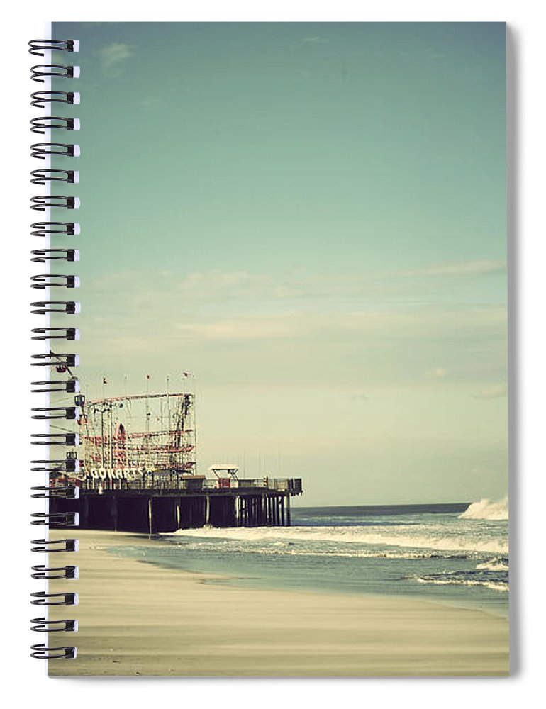 Funtown Pier Spiral Notebook featuring the photograph Funtown Pier Seaside Heights New Jersey Vintage by Terry DeLuco