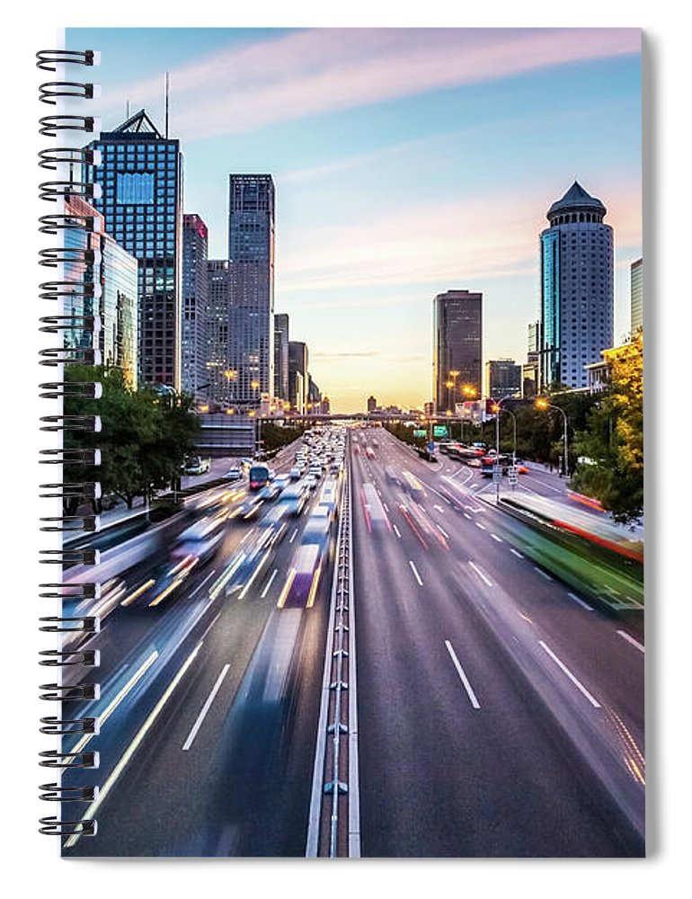 Scenics Spiral Notebook featuring the photograph Futuristic City At Dusk by Itsskin
