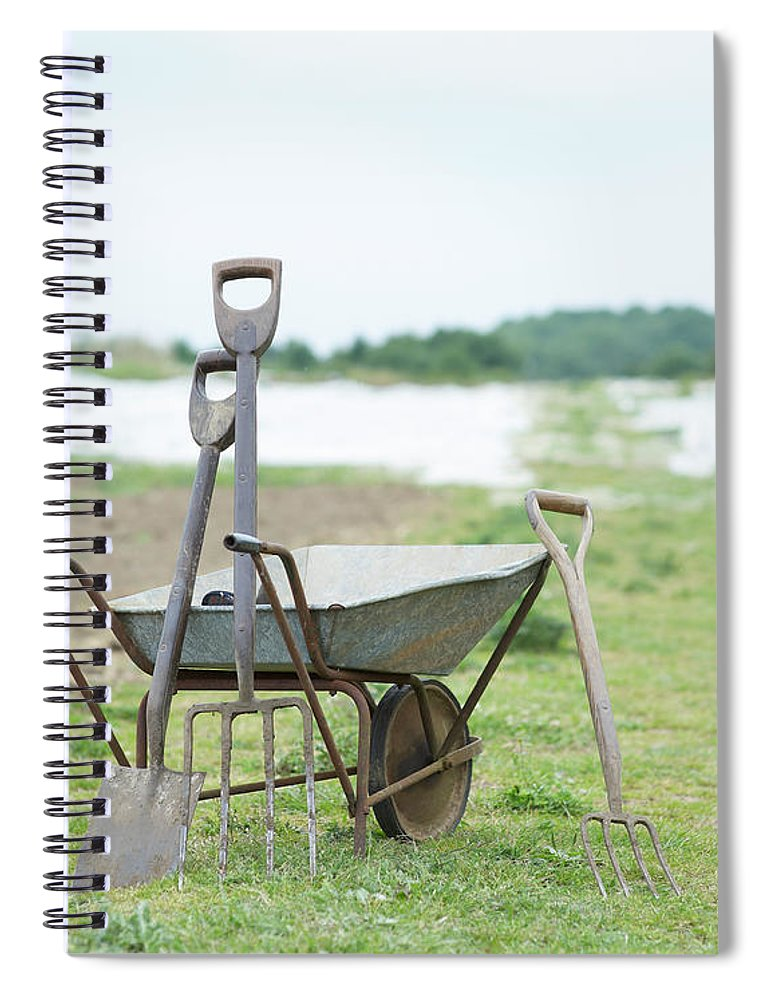 Grass Spiral Notebook featuring the photograph Gardening Tools And Wheel Barrow On by Dougal Waters