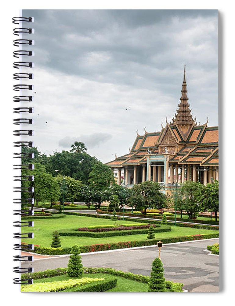 Southeast Asia Spiral Notebook featuring the photograph Gardens At The Royal Palace In Phnom by Tbradford