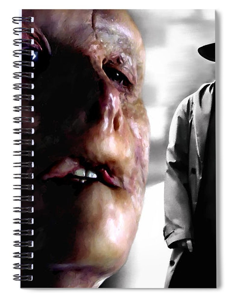 Anthony Hopkins Spiral Notebook featuring the digital art Gary Oldman and Anthony Hopkins in the film Hanibbal by Ridley Scott by Gabriel T Toro