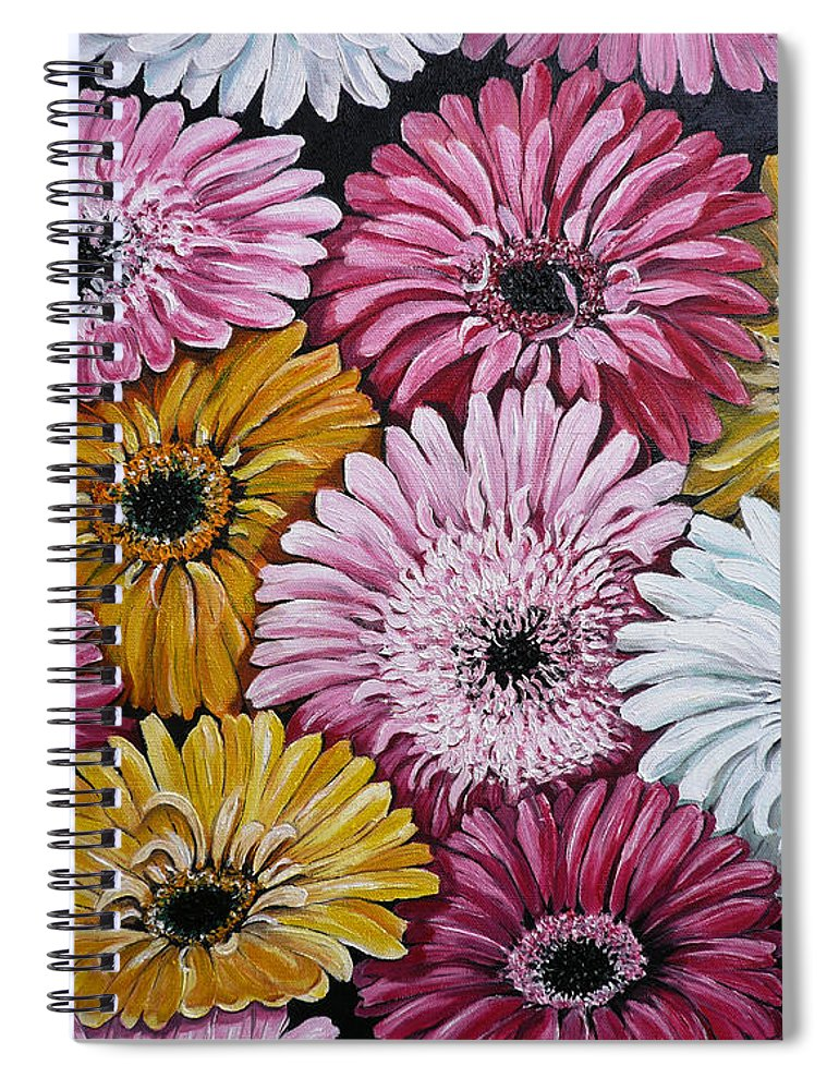 Flower Paintings Daisy Paintings Floral Paintings Blooms Color .gerbera Daisy Paintings Greeting Card Painting S Canvas Painting Poster Print Paintings Spiral Notebook featuring the painting Gebera Daisies by Karin Dawn Kelshall- Best