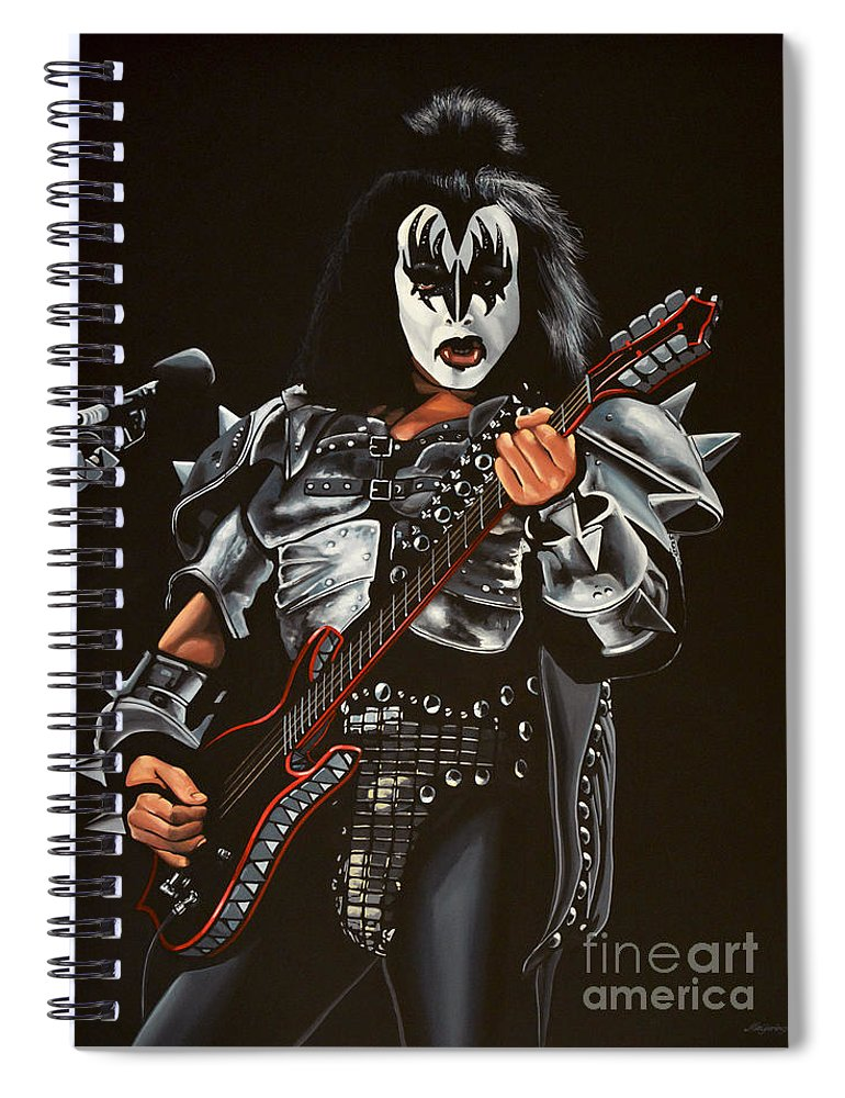Kiss Spiral Notebook featuring the painting Gene Simmons Of Kiss by Paul Meijering